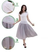 2014 New Fashion Women's Dresses Chiffon Summer Patchwork Plus size Clothing Slim Short sleeve Length Dress