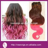 5A  pink ombre two tone color Brazilian hair weave extensions body wave 3/4pcs, ombre wavy brazilian human hair bundles weaves