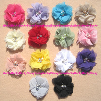 "14 Pcs 2.3"" Rhinestone & Pearl Chiffon hand sewing Fabric Flower For Headband Hair Bow baby girl DIY Crafts"