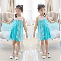 new girls frozen dress, sleeveless blue tulle dresses , fashion baby & kids summer wear, party dress for children  5pcs/lot
