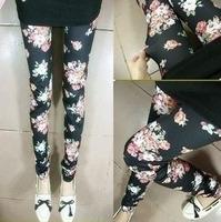 New Arrival Ladies Skinny Rose Flower Print Leggings  Slim Elastic Stretchy Pencil Pants 9059