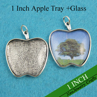 1 inch Antique Silver Apple Pendant Tray, Apple Cabochon Setting and Matching Glass Cabochon 200 Sets (200 Pendants + 200 glass)