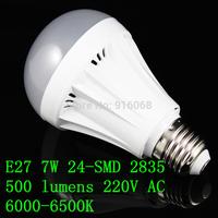 FREE SHIPPING new  E27 7W 24-SMD 2835 500 lumens 220V AC 6000-6500K  white light bulbs
