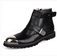 British Style Brand 100% Genuine Leather shoes High Quality Men's ankle boots Fashion Cowboy Men martin boots