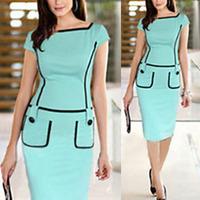 Summer Dress 2014 New Elegant Women Lady Vintage Stretch Slim Bodycon Party OL Office Work Wear Sheath Pencil Dress Plus size