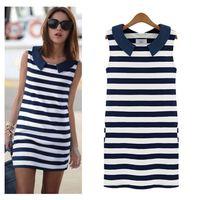 2014 New summer Clothing Women Fashion Denim Sailor Collar Sleeveless Casual Striped Jeans Dress Ladies