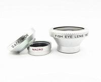 3 in 1 Magnetic Fisheye Lens 180 Fisheye Photo Camera Kit Set 0.67X Wide Angle Macro Universal Clip For iPhone Samsung HTC A219