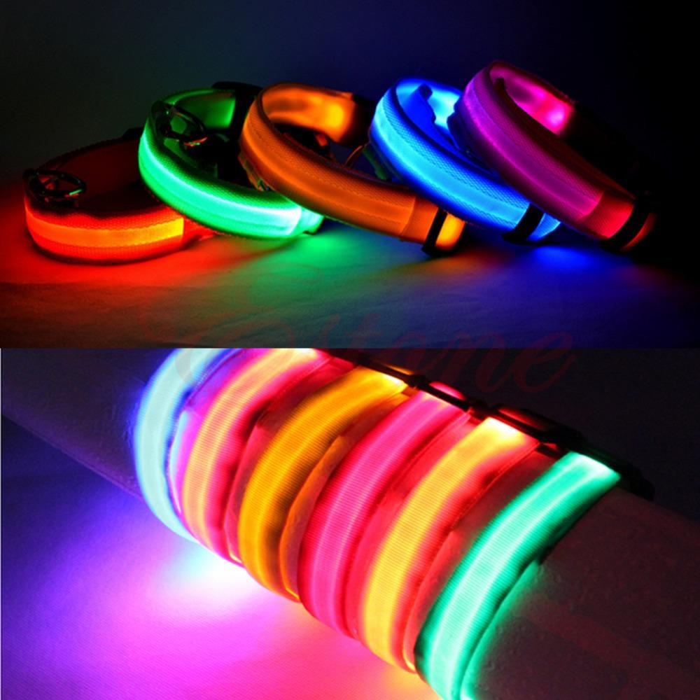 Adjustable Pet Dog Flashing LED Lights Safety Nylon Night Glow Collar Free Shipping(China (Mainland))
