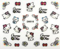 Nail Art 3D Nail Stickers Black Hello Kitty with Rhinestone 12 Styles Cartoon Decals 50pcs/Lot New 2014 Free Shipping
