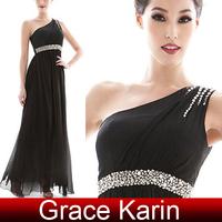 Free Shipping Women One Shoulder Black Evening Dress Long Chiffon Party Gown Prom Dress CL5649