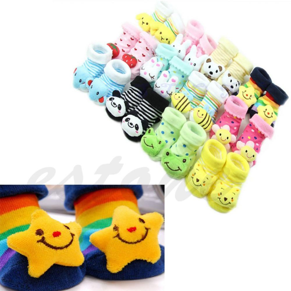 Hot Sale 1 Pair Cute New Baby Girl Boy Cotton Cartoon Anti-slip Soft Shoe Socks 0-6 Month(China (Mainland))