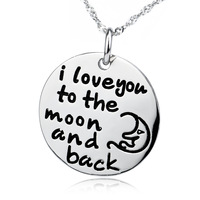 GNX0393 Freeshipping Wholesale 925 Sterling Silver I Love you to the moon and back Necklace Round 24.3*20.5mm For Women Jewelry