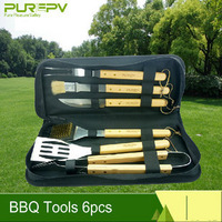 Purepv 6 Pieces BBQ Tool Set - Stainless steel with wooden handles