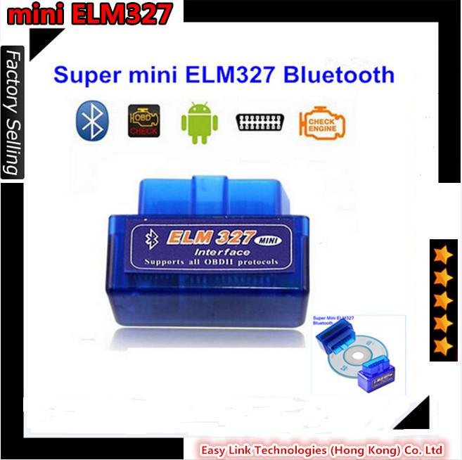 Free shipping Super Mini ELM327 Bluetooth V1.5 OBD2 auto code reader mini 327 Car diagnostic interface ELM 327 EL135(China (Mainland))