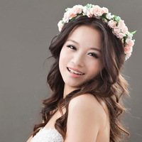 2014 Free Shipping 2014 Travel Beauty Flower Garland Floral Bridal Headband Hairband Wedding Prom Garland Hoop Hair Accessories