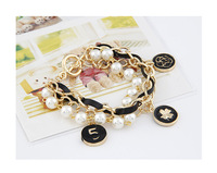 European and American style fashion personality temperament golden flowers woven leather cord bracelet bracelet S95
