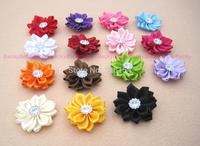 30 pcs/lot Satin Ribbon Poinsettia Flower Rhinestone For Headband Hair Bow Appliques Crafts DIY Accessories