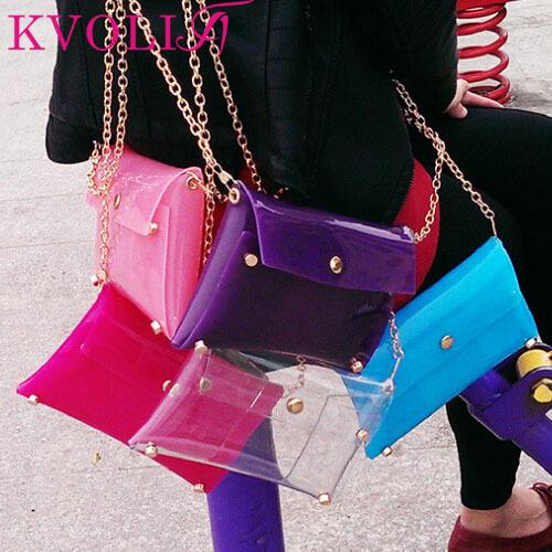 Hot fashion transparent women handbag beach shoulder bag jelly clutch bags new 2015 HL1995(China (Mainland))