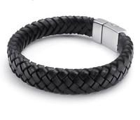 Unique Designer 316L Stainless Steel Bracelets & Bangles Clasp Black Leather Magnetic Clasp Bracelet