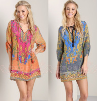 Women Chiffon Dress In 2014 New Summer Fashion Brand Designer Baroque Pattern Dresses Three Quarter Sleeve Good Quality
