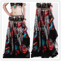 2015 New Tribal Bohemian Style Women Chiffon Floral Printing Big Swing Floor-Length Long Skirts Ladies Belly Dance Skirt SY0169