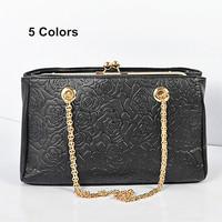 Vintage Rose Print Women Chain Shoulder Bag Textured Faux Leather Celebrity Style Ladies Tote Handbag