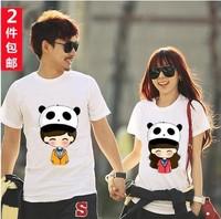 Free shipping 2014 couples Dress Shirt Short Sleeved cotton Lycra Men T-shirt cotton class service student T Panda beach tops T