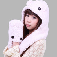 Modern Winter Warm Lady Women's Pure Colors Plush Hooded Hat Cap Scarves Glove Free Shipping