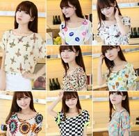 2014 Hot sale Fashion Women's Clothes Chiffon T shirt short Batwing sleeve t-shirts Causal blouse Sundress summer top tees YY01
