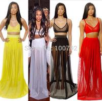 Celebrity Bandage Dresses Summer New 2014 Vintage Geometric   Party Women's Sheer  Two Piece Set  Long Dress