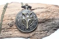 Retro bronze fox map pocket watch , charm watch, best gift for a friend