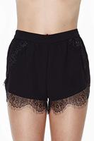HOT SELL women lace shorts decorative lace trim black women casual shorts nasty gal summer tassel mid wasit  shorts