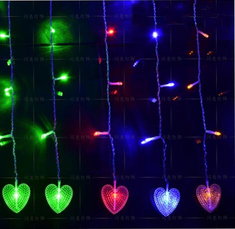 2m * 1m 104 LED Heart Curtains Garland string lights christmas new year holiday party wedding Home luminaria decoration lamps(China (Mainland))