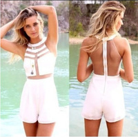 2014 Newest Style Womens Sexy Jumpsuits White High Neckline Playsuit With Mesh Cutout Detail Mesh Sleeveless Overalls