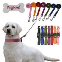 Free shipping !!  1 set ,  Collar and Rope,Plain Nylon Dog Puppy Pet Collar And  Leash ,7colors 4sizes