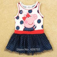nova brand kids clothes baby girl dresses peppa pig dress vestidos de menina girls dress summer 2014 child tutu dress H5066
