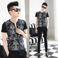 Free shipping! 2014 summer new fashion men's Slim short-sleeved collarless shirt Floral