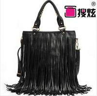 Hot sale ! black tassel handbag for woman 2014 new fashion woman's shoulder bag casual bags