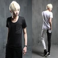 Male t-shirt slim rivet personalized short-sleeve T-shirt t117 p45