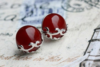 2014 Top Fasion New Arrival Earings Brinco Stud Earrings Natural Agate Stud Earring 925 Pure Anti-allergic Accessories Crystal