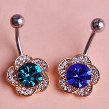 Emerald Rhinestone Flowers Piercing Belly Button Ring Barbell Piercing Ring Body Piercing Jewelry Perfumes For Women