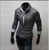 Size M-XXL Fashion false two design Solid V-Neck Long-sleeved  Men Slim Fit Cotton T Shirts,free shipping