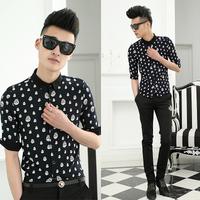 Free shipping! 2014 summer new men's fashion shirt Slim wild animal prints