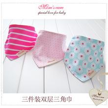 Envío libre 3pc / lot 100 % pañuelos de toallas baberos muchachas de la ropa del bebé del algodón del bebé corbata ldren chiscarf HK1012 toalla infantil #(China (Mainland))