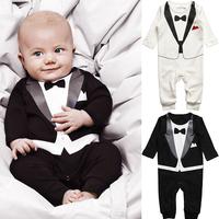 2015 New Fashional Baby Boy Kid Casual Romper Gentleman Pants long sleeve climb clothes Sets 0-24M Freeshipping