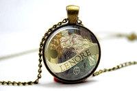 0pcs/lot Edgar Allan Poe Necklace, Lenore, Gothic Jewelry, Bronze Glass Photo Cabochon Necklace