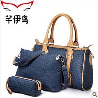2014 new fashion pu leather bag + coin purse + dark blue shoulder bags for woman casual bas luxury handbag