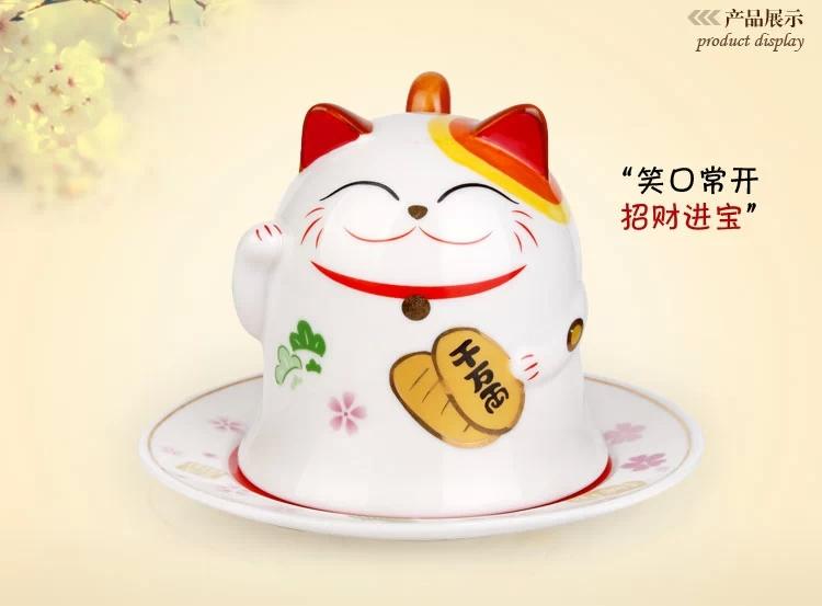 JiShan edge Japanese ceramics plutus cat porcelain cup Lovely creative couple cups Practical birthday gift(China (Mainland))