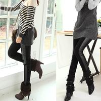 Women Thin Cotton Plus Side Stitching Faux Leather Leggings Thin Pants  9040