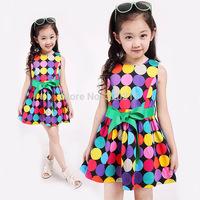 2014 summer new models trivial Street original color dot sleeveless dress children dress children's clothing TQZA11